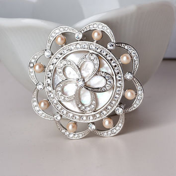Vintage Monet Mother of Pear Rhinestone and Pearl Brooch