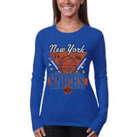 Junk Food New York Knicks Ladies Net Ball Long Sleeve T-Shirt - Royal Blue