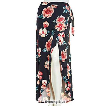 Juniors Derek Heart Floral Soft Stretch Knit Wrap Skirt