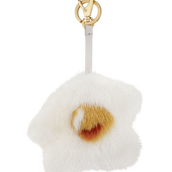 Anya Hindmarch Mink-Fur Egg Charm for Handbag, White