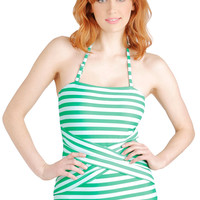 Down for a Dip One Piece in Peacock   Mod Retro Vintage Bathing Suits   ModCloth.com