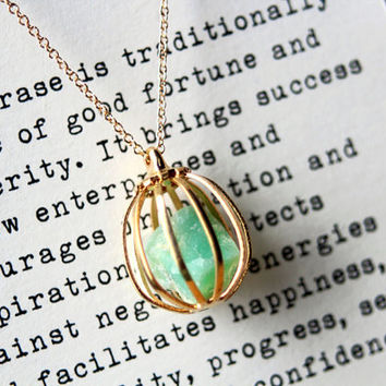 Chrysoprase Pet Rock Necklace for Prosperity and Success