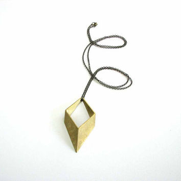 rhombus necklace on long chain - large brass geometric 3D diamond shape mens jewelry