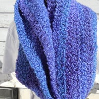 READY TO SHIP, Crochet Loop Scarf, Violet Stripes Chunky Scarf, Crochet Infinity Scarf, Fall Winter, Women's Accessory, Cowl