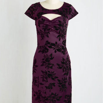 Pinup Long Short Sleeves Sheath Dear Fiery Dress in Amethyst Floral