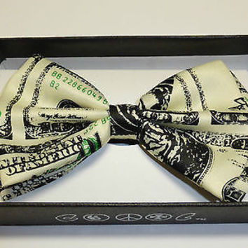 Unisex Hip Rockabilly Punk Benjamins Money 100 Dollar Bill Adjustable Bow Tie
