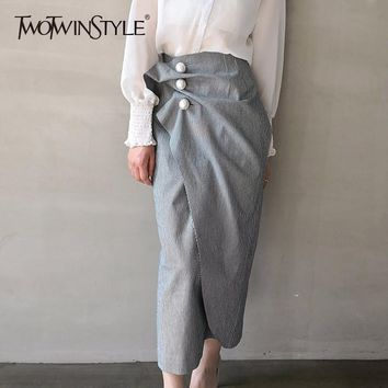 TWOTWINSTYLE Striped Pearls Skirts Ruched High Waist Patchwork Split Irregular Midi Skirts Spring Fashion Korean Clothing