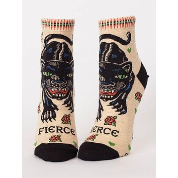 Fierce Women's Ankle Socks in Black Panther