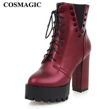 COSMAGIC 2018 New Winter Women Rivets Ankle Motorcycle Boots Super High Heel Gothic Punk Platforms Botas Mujer Plus Size