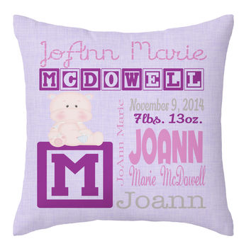 Monogrammed Throw Pillow, Birth Announcement Keepsake