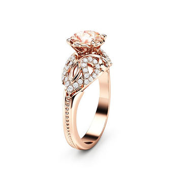 Peach Sapphire Engagement Ring 14K Rose Gold Ring Unique Art Deco Engagement Ring