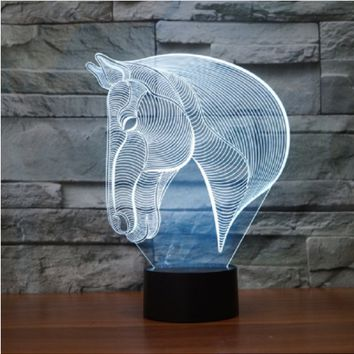 7 Multi-Color Changing Horse Head LED Lamp