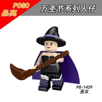 Single Sale PG1429 Halloween Ghost Festival Scarecrow Wedding ghosts Pumpkin Vampire Witch Zombie Toy doll for children Building