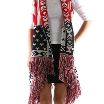 Scarf Stars And Stripes Vest Poncho Red White And Blue American Flag Fringe Woven