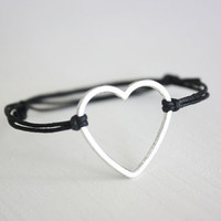 Open Heart Wish Bracelet - Tibetan Silver - Black Waxed Cotton Cord