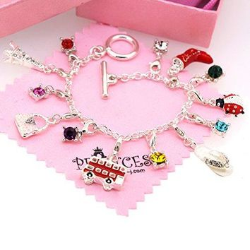 AUGUAU Silver Plated Link Chain Bracelet with 13 Removable Charms for Kids Teen Girls Women