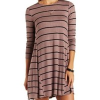 Taupe Combo Striped Trapeze Shift Dress by Charlotte Russe