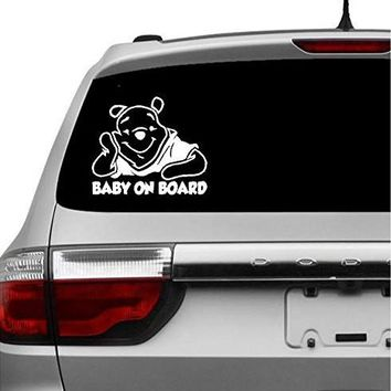 Baby on Board Winnie De Pooh Baby Decal Sticker Vinyl for Car Windows