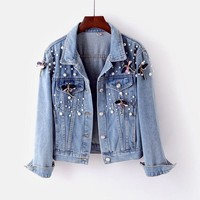 Amolapha Women Pearls Denim Jackets Long Sleeve Turn-down Collar Woman Casual Jean Jacket Coat Outerwear