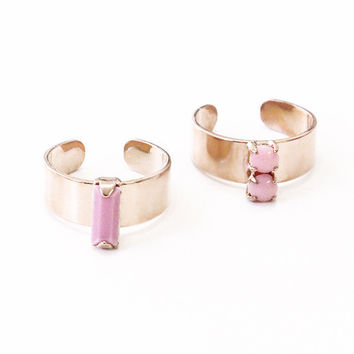 Pastel Pink Candy Jewel Rings