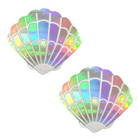 Stare Holographic Mermaid Shell Nipztix Pasties Nipple Covers