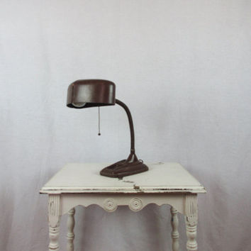 Art Deco Desk Lamp Cast Iron Gooseneck Industrial Lighting Adjustable Neck