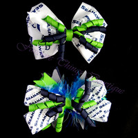 Seattle Seahawks Corker Bow with Marabou (optional)