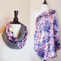Nursing scarf - nursing cover - nursing cover scarf - new mom gift - baby shower gift - breastfeeding scarf - purple floral nursing cover