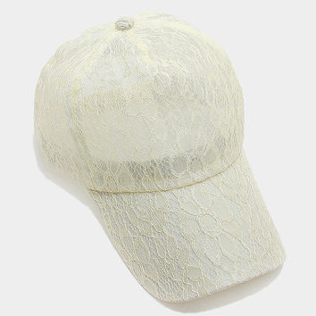 White Floral lace baseball cap, One Size Fits All, Unisex Gift Idea