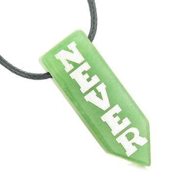 Never Give Up Reversible Amulet Balance Yin Yang Energy Powers Arrowhead Green Quartz Necklace