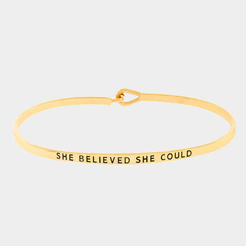 """She Believed She Could"" Skinny Mantra Cuff Bracelet"