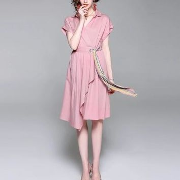 2018 Summer New Womens pink elegant simple silk cotton dress Plus Size Bodycon Short Sleeve Casual  Rayon Dress UK Vestido