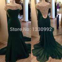 Real Photos Boat Neck Mermaid Cap Sleeve Floor Length Green Chiffon Long Evening Dress 2017 New Arrival Formal Dresses