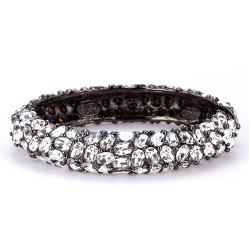 Kenneth Jay Lane Crystal Gunmetal Bangle Bracelet
