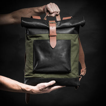 Sale 20% Canvas and leather backpack Original Collection by Kruk Garage Roll top backpack Made of British army duffle bag 70's