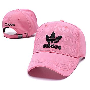 Adidas Trending Couple Embroidery Sports Sun Hat Baseball Cap Hat Pink