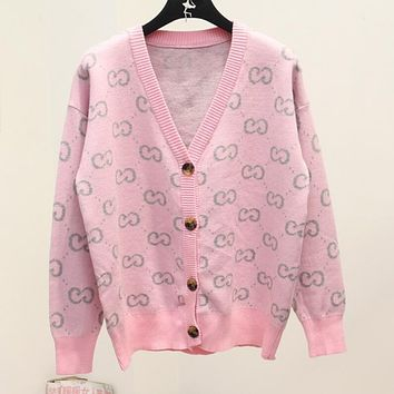 GUCCI Fashion Pink GG Letter Jacquard Sweater Knit Cardigan Jacket Coat I12499-1