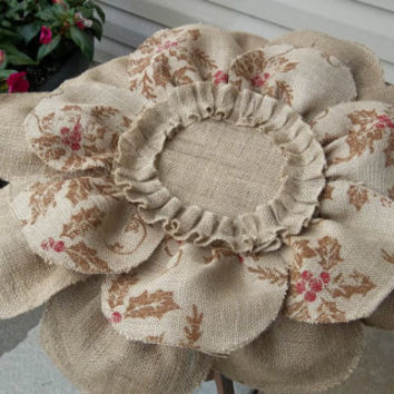Burlap  Christmas print  Flower placemat, table cover, centerpiece, Huge 24""