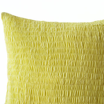 Yellow Cotton Voile Pillow - Ruched yellow pillow - Yellow cushion - Pleated pillow - 16x16- Cotton Cushions- Yellow Euro Sham