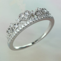Princess heart-shaped tiara ring with CZ/ Gorgeous and Delicate / 925 Sterling silver