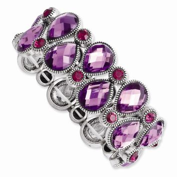Silver-tone Purple and Pink Epoxy Stones Stretch Bracelet