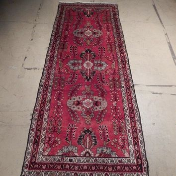 Red Runner Rug 4' x 10' Lilihan Arabesque Royal Design Sarouk Handmade Rug