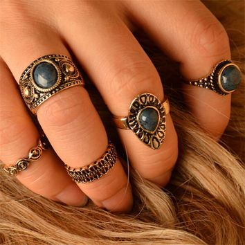 *5pcs/set Bohemian BOHO Rings Water Drop Blue Stone Mosaic Hollow Geometric Punk Joint Ring Vintage Ethnic Women Finger Jewelry
