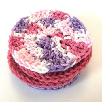 Face Scrubbies Hand Crocheted Washcloths Makeup Remover Pink and Purple Set of 6