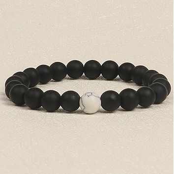 Black frosted stone white turquoise bracelet set men and women couple bracelets Beads Bracelets