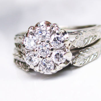 Beautiful Daisy Diamond Engagement Ring Set 0.49ctw Diamond Cluster Ring 14K White Gold Filigree Diamond Wedding Ring Vintage Bridal Set