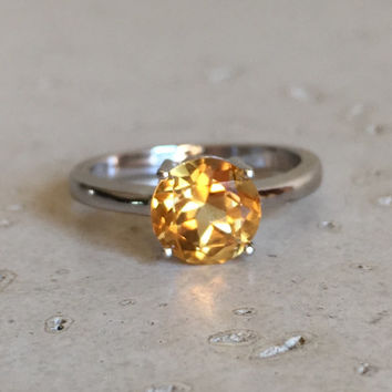 Round Yellow Topaz Rings- Topaz Rings- Anniversary Rings- November Birthstone Rings- Solitaire Rings- Citrine Ring- Yellow Stone Ring