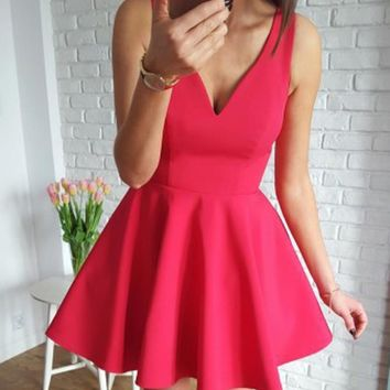 Red V-neck Straps Stain Short Homecoming Dresses,Sleeveless Straps Homecoming Dresses