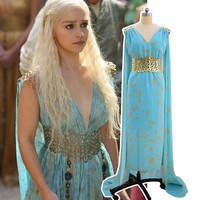 Daenerys Targaryen Costume Mhysa Khaleesi Dresses Women Adult Game Of Thrones Cosplay Blue Chiffon Hallowenn Female Fantasias