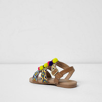 Girls brown beaded pom pom sandals - Holiday Shop - Sale - girls